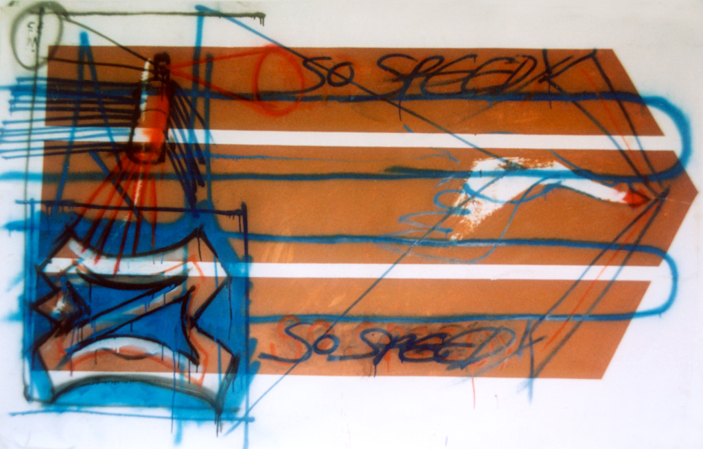Speed I (1991) - 230cm x 150cm - Emulsion, car spray paint and graphite on on paper