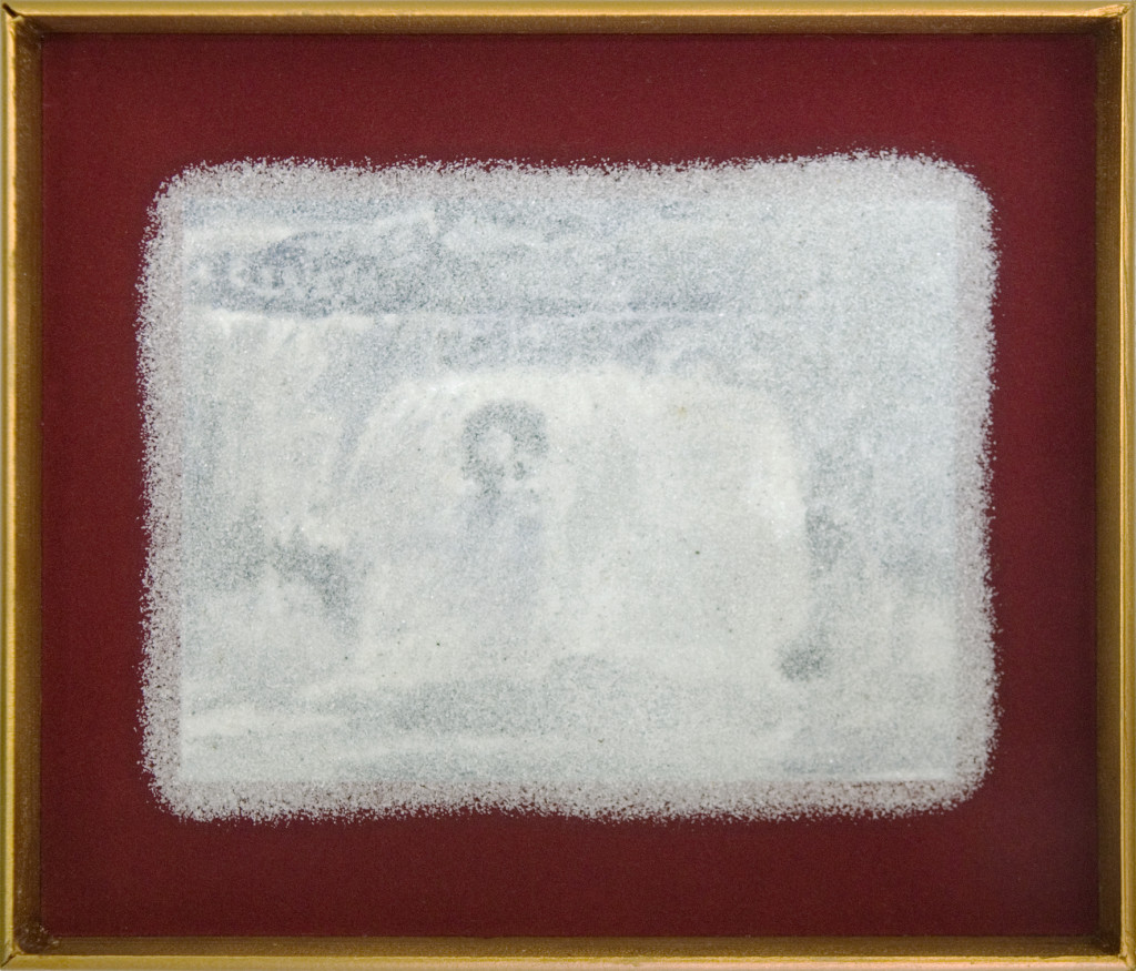106 - Ron & Son, Shellfish & Fish III (2012) - 27cm x 23cm - carbon, graphite and marble sand on board with velvet surround