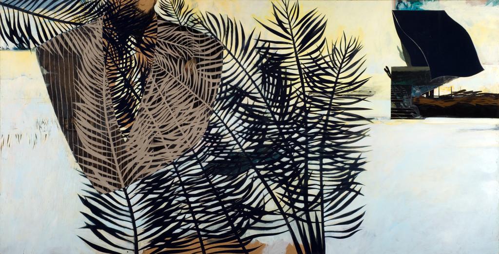 23 - Prester Joao Safari (2008) - 240cm x 120cm- velvet, acrylic, mixed media on wooden panel