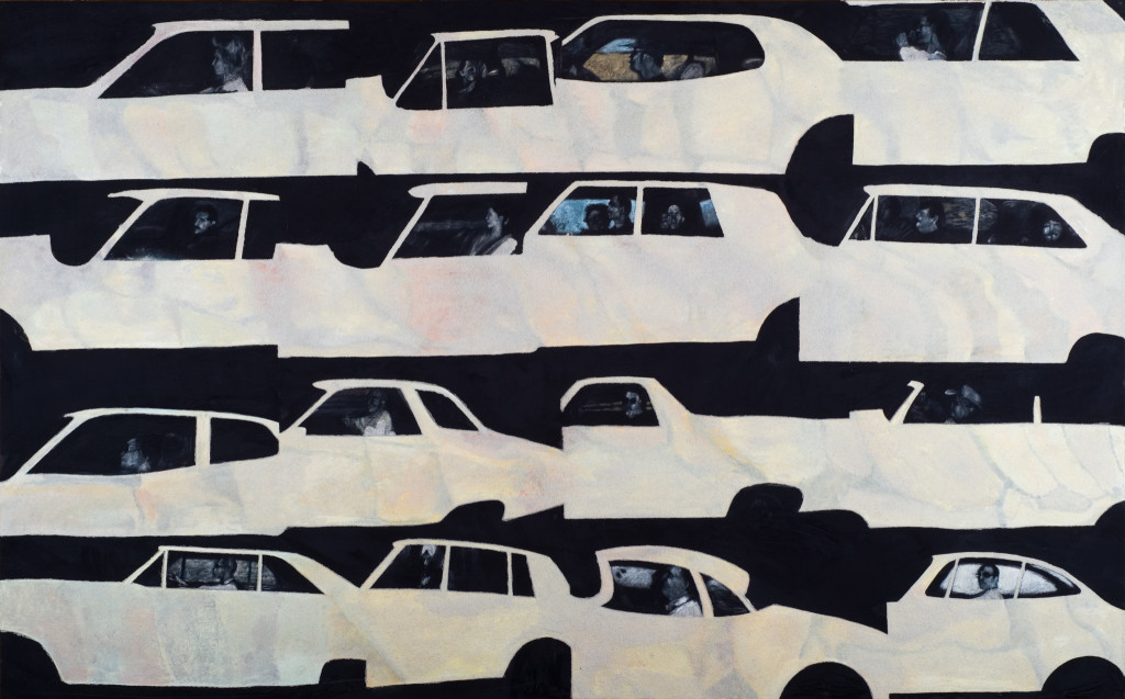 52 - Car Fossil Portraits (2011) After Andrew Bush's Vectoral portraits - 209cm x 140cm - velvet, acrylic, mixed media and marble sand on wooden panel