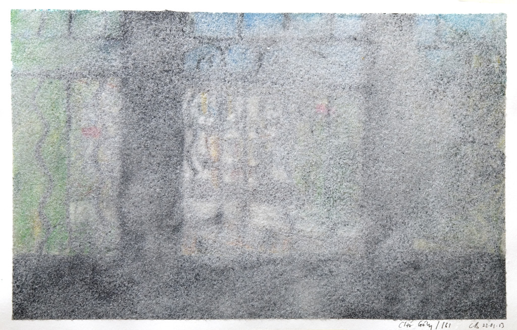 96 - Cité Gély I (2013) - 65cm x 50cm - crayon, charcoal, indian ink and marble sand on paper