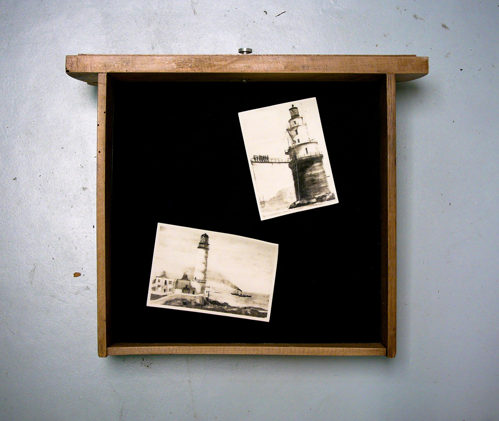 201a - Rob's Lighthouses (2015) - 30cm x 30cm x 7cm approx.- found drawer, black felt, 2 phossils